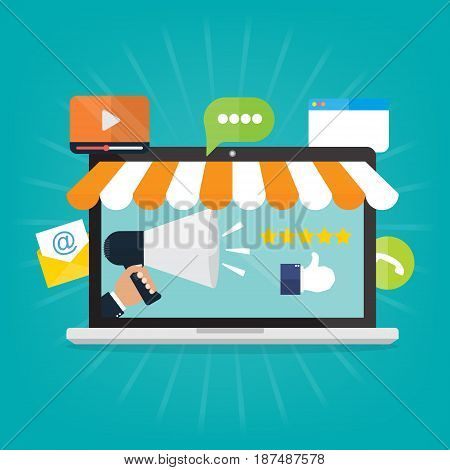 Businessman hand hold megaphone on computer laptop for internet advertising.Vector illustration flat style social media marketing concept.