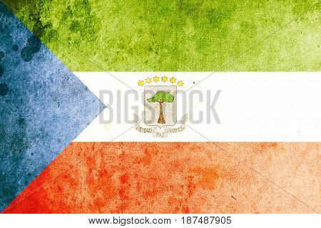 Equatorial Guinea flag grunge background. Background for design in country flag