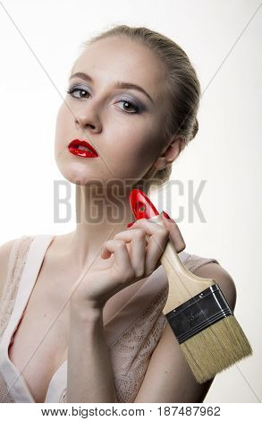 Young woman model with glamour red lips,bright makeup