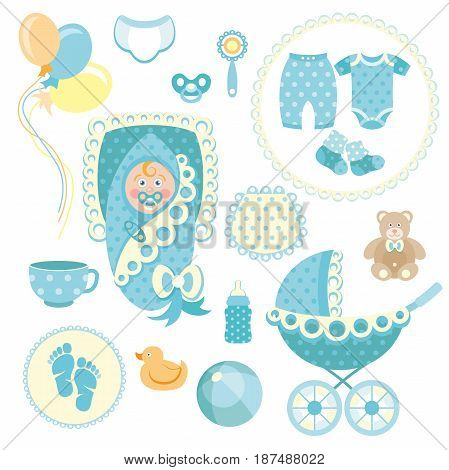 Little man baby shower related items collection