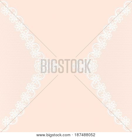 White lace pattern on a pink background