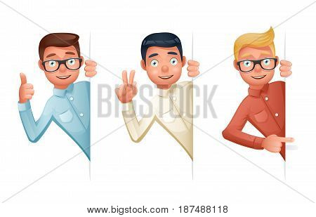 Pointing Finger Support Help Looking Out Corner Idea Cartoon Businessman Characters Set Icon Solution Symbol Retro Vintage Design Isolated Vector Illustration