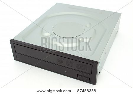 CD - DVD drive with a black cap. Isolated on white background.