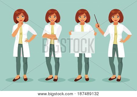 Set woman doctor in different poses. Vector illustration