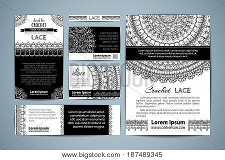 Set Of Corporate Lace Crochet Templates.