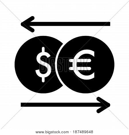 currency exchange vector icon. Black and white money illustration. Solid linear dollar and euro icon. eps 10