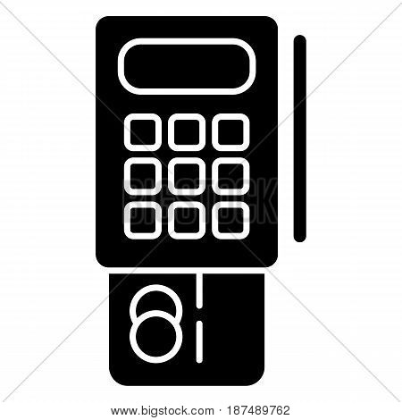 Credit card terminal vector icon. Black and white terminal illustration. Solid linear banking icon. eps 10