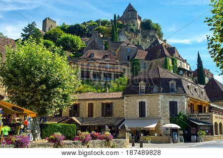 Lovely village of Beynac, Dordogne. Classified among the most beautiful villages of France