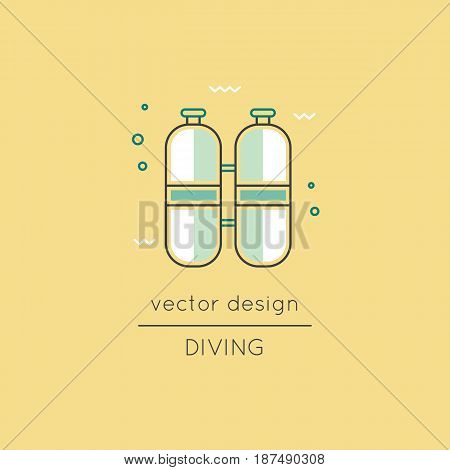 Diving vector thin line icon, oxygen cylinders. Colored isolated symbol. Logo template, element for travel agency products, tour brochure, excursion banner. Simple mono linear modern design.