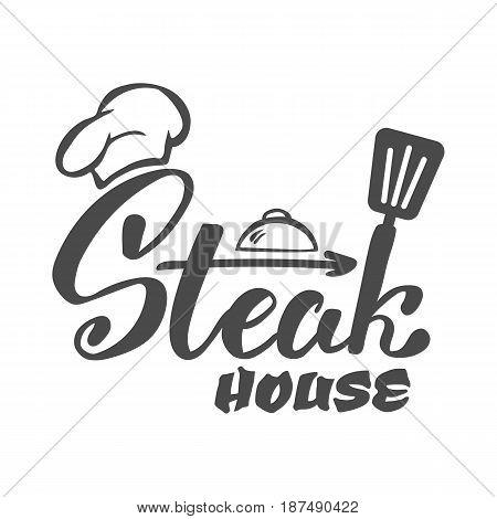 Hand lettering logo.Steak house label logo and emblem vector templates isolated on white background. Steak house restaurant menu design element