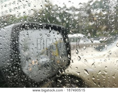 rain drops on the wing mirrorThe concept of safety while driving