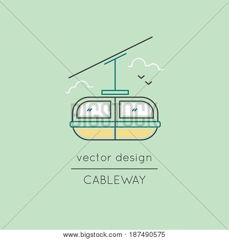 Cable car vector thin line icon. Colored isolated symbol. Logo template, element for travel agency products, tour brochure, excursion banner. Simple mono linear modern design.