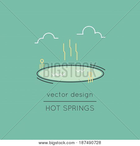 Hot springs vector thin line icon. Thermal lake. Colored isolated symbol. Logo template, element for travel agency products, tour brochure, excursion banner. Simple mono linear modern design.