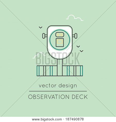 Observation deck vector thin line icon. Binocular. Colored isolated symbol. Logo template, element for travel agency products, tour brochure, excursion banner. Simple mono linear modern design.