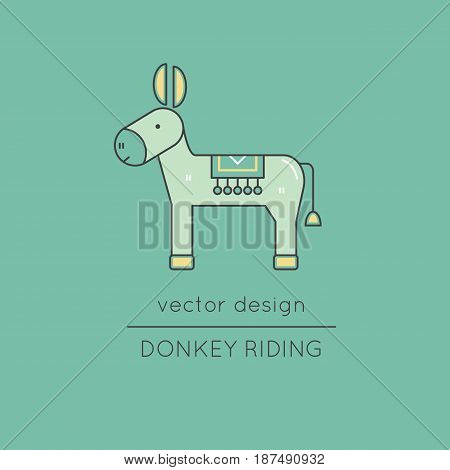 Donkey vector thin line icon. Colored isolated symbol. Logo template for riding tour, element for travel agency products, tour brochure, excursion banner. Simple mono linear modern design.