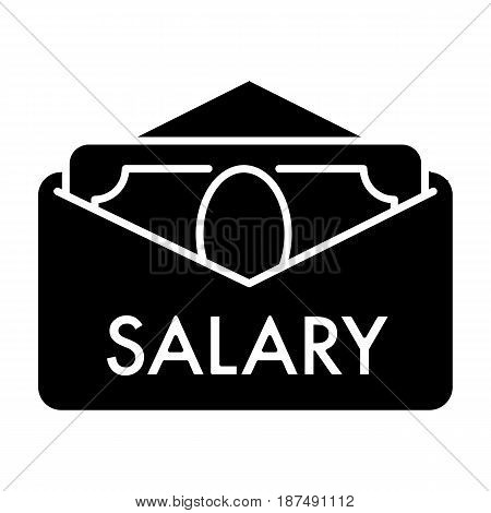 Salary vector icon. Black and white cash illustration. Solid linear money icon. eps 10