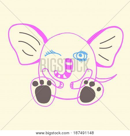 hand drawn funny doodle elephant character, vector illustration