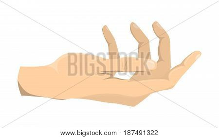 Helping hand gesture on white background. Symbol of begging or helping.