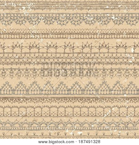 Vector Vintage Crochet Seamless Pattern.