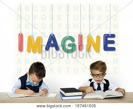 Children studying on table graphic imagine background