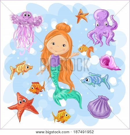 Set on a marine theme. Vector isolated objects mermaid and octopus, fish and jellyfish, shell