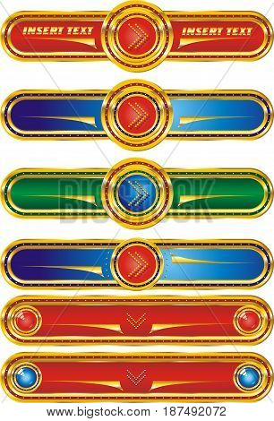 Set of web buttons with the index arrows in a gold edging. Buttons in vector form