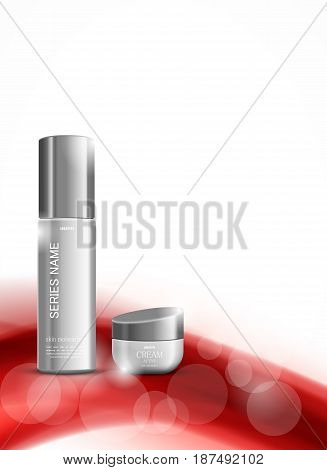 Skin moisturizer cosmetic design template with gray realistic packages on red soft wavy dynamic smooth lines background. Vector illustration