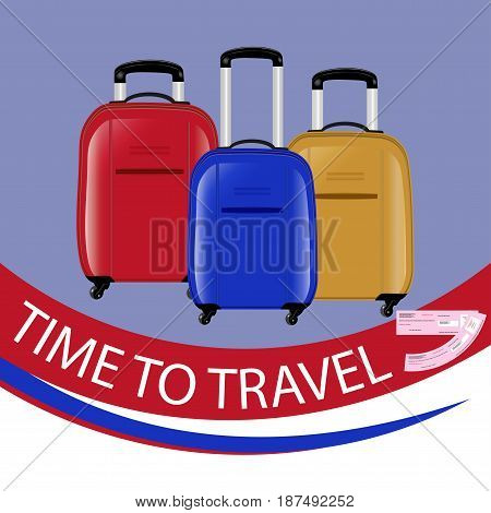 The concept of a time to travel. Three modern suitcases on wheels. Red blue and yellow. Air tickets . Vector illustration.
