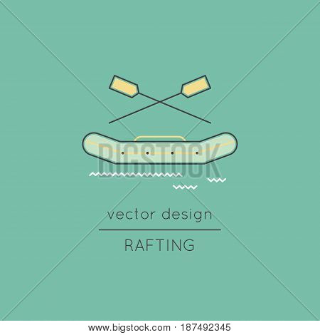 Rafting vector thin line icon. Inflatable boat with oars isolated symbol. Logo template, element for travel agency products, tour brochure, excursion banner. Simple mono linear modern design.