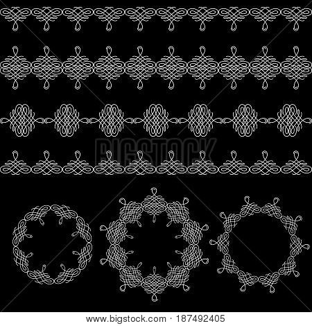 Set collection of borders and round frames in calligraphic retro style isolated on black background. Can be used for decorate cards invitations menu. Vector illustration