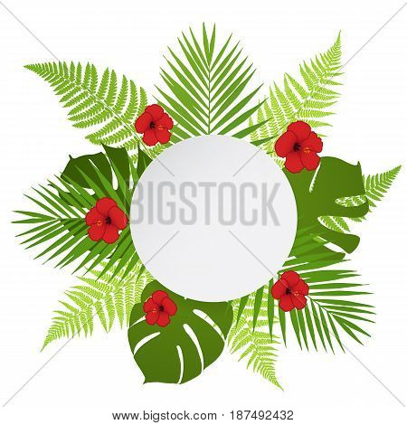 Round banner with palm fern and hibiscus. Vector illustration.