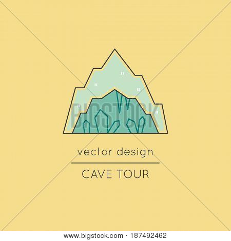 Cave with stalagmites and stalactites, vector thin line icon. Isolated symbol. Logo template, element for travel agency products, tour brochure, excursion banner. Simple mono linear modern design.