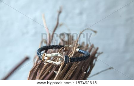 Gold And Leather Bracelet