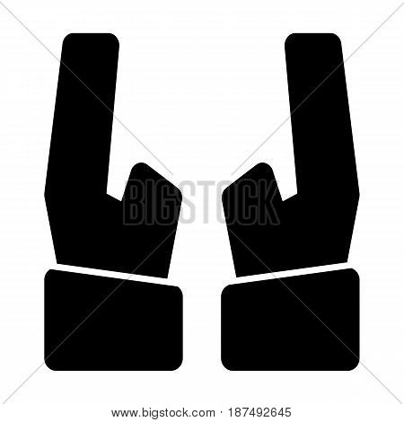 Two hands vector icon. Black and white hands illustration. Solid linear icon. eps 10