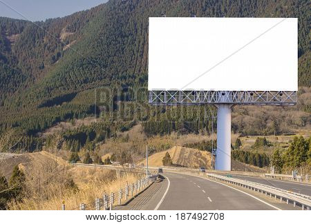 Billboard Blank On Countryside Road For Advertising Background