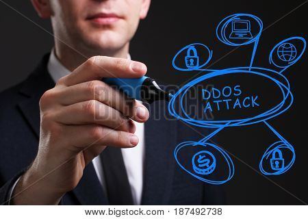 Business, Technology, Internet And Network Concept. Young Business Man Writing Word: Ddos Attack