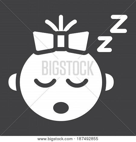 Baby girl sleep solid icon, child and infant, vector graphics, a filled pattern on a black background, eps 10.