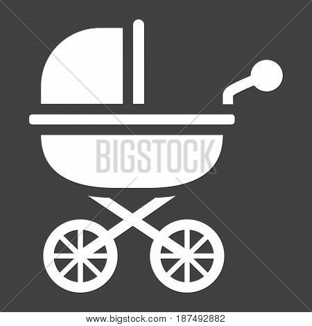 Baby carriage solid icon, pram and pushchair, vector graphics, a filled pattern on a black background, eps 10.