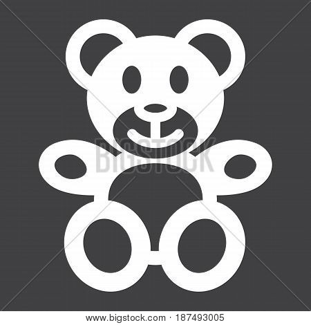 Teddy bear solid icon, plush toy and baby, vector graphics, a filled pattern on a black background, eps 10.