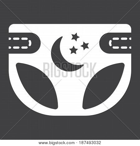 Diaper solid icon, nappy and protection, vector graphics, a filled pattern on a black background, eps 10.