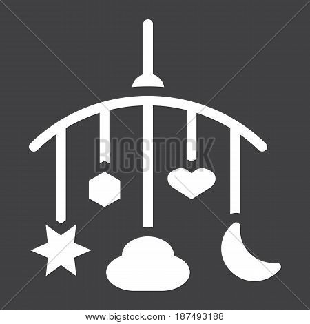 Hanging toys solid icon, baby crib toys, vector graphics, a filled pattern on a black background, eps 10.