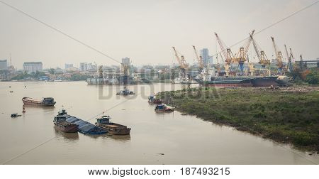 The Port And River In Hai Phong, Vietnam