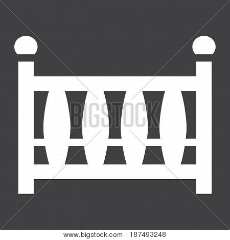 Baby crib solid icon, baby cot and bed, vector graphics, a filled pattern on a black background, eps 10.
