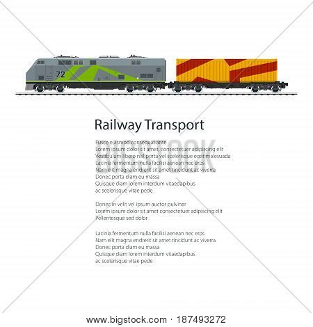 Poster Locomotive with Orange Cargo Container on Railroad Platform Isolated on White Background and Text , Rail Freight, Overland Transport, Vector Illustration