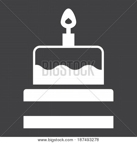 Birthday cake solid icon, sweet and holiday, vector graphics, a filled pattern on a black background, eps 10.