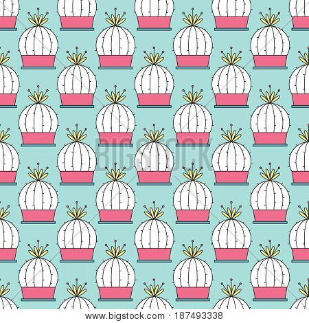 Simple cactus seamless tiled pattern. Vector bright background. Can be used for wallpaper, surface textures, scrapbooking, fabric prints.
