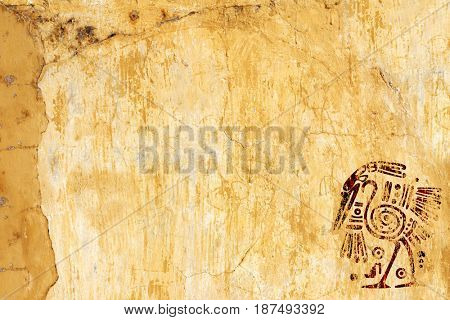 Background with American Indian traditional patterns and stucco texture of yellow color