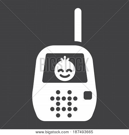 Baby monitor solid icon, mobile and child control, vector graphics, a filled pattern on a black background, eps 10.