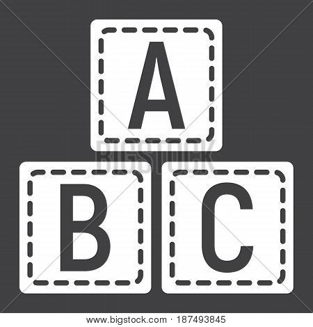 ABC blocks solid icon, alphabet cubes and education, vector graphics, a filled pattern on a black background, eps 10.