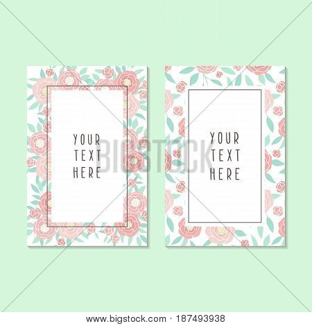 Two different cards templates with beautiful pink peonies flowers. Vector hand drawn illustration
